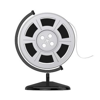 Filmspoel met cinema tape in de vorm van earth globe op een witte achtergrond. 3d-rendering