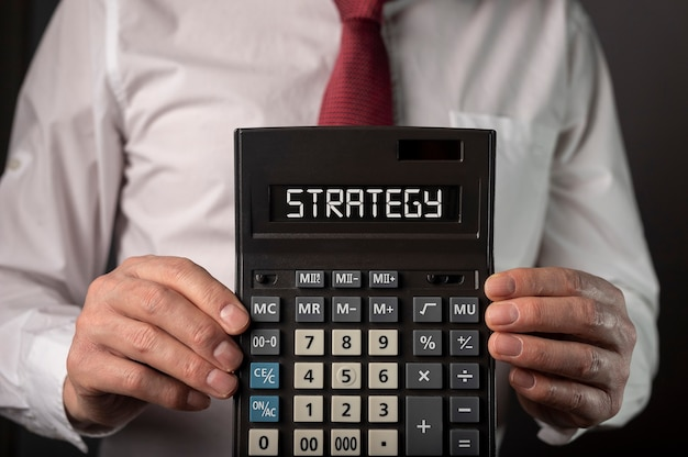 Financieel bedrijfsstrategiewoord, inscriptie op documenten.
