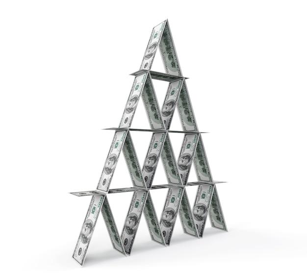 Financieel begrip. abstracte geldpiramide op een witte achtergrond