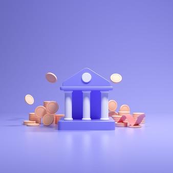 Financieel begrip. bankdeposito's en opnames, transacties, bankservice. munten vallen, en bank met cartoon-stijl op blauwe achtergrond. 3d render illustratie