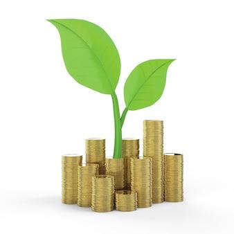 Financieel groeiconcept met 3d-rendering stapel gouden munten met groene bladeren