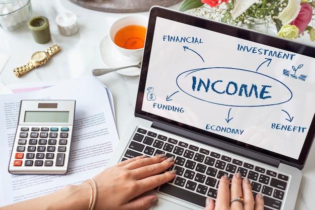 Financieel inkomen economisch diagram geldconcept
