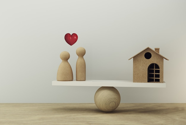 Financieel management: huis en geld besparen geld voor bruiloft een weegschaal in gelijke positie. bereid je voor op huwelijkskosten en verblijf.