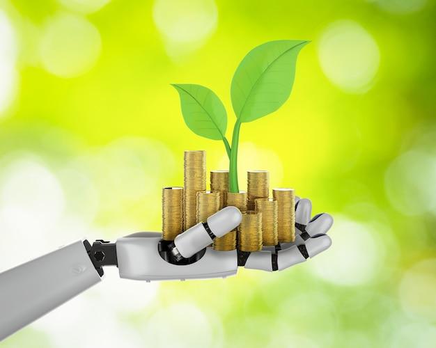 Financieel technologieconcept met 3d-rendering robotachtige hand met gouden munten Premium Foto