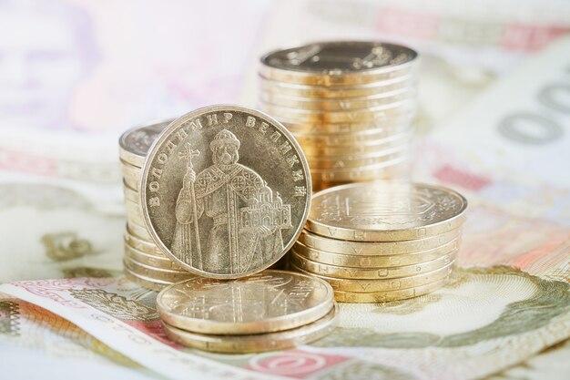 Financiële achtergrond met oekraïens geld. financieel concept