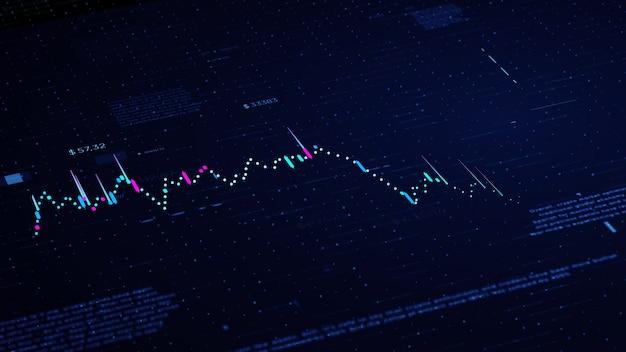 Financiële bedrijfsgrafiek met diagrammen en voorraadaantallen die winsten en verliezen tonen