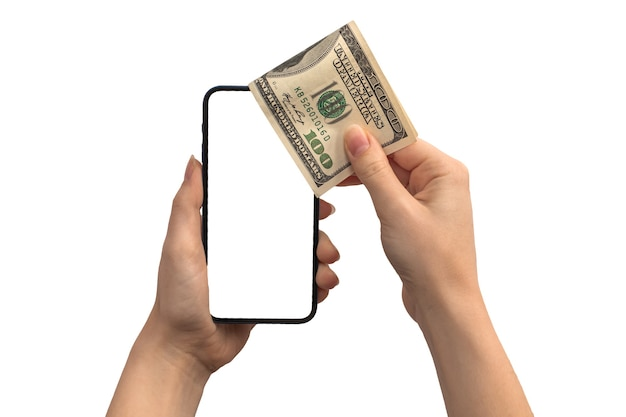 Financiële betaling met dollargeld en mobiele telefoon, leeg wit schermmodel, handen met cryptocurrency-muntstuk dat op een witte achtergrondfoto wordt geïsoleerd
