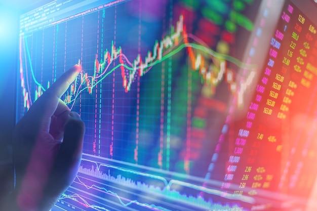 Financiële beurs grafiek grafiek van aandelenmarkt investeringen handel scherm