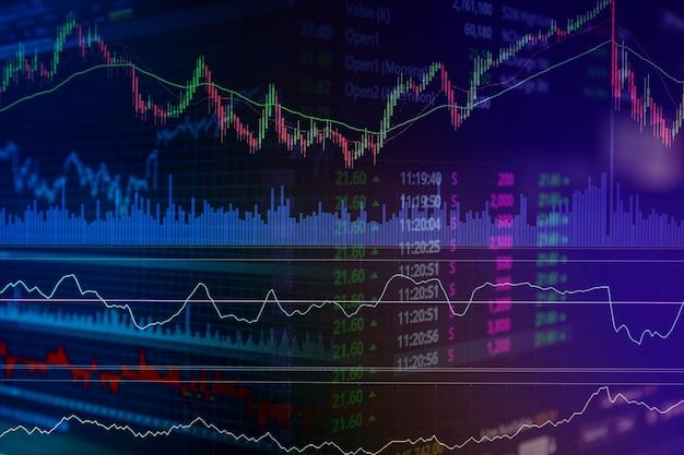 Financiële beurs grafiek grafiek van aandelenmarkt investeringen handel scherm.