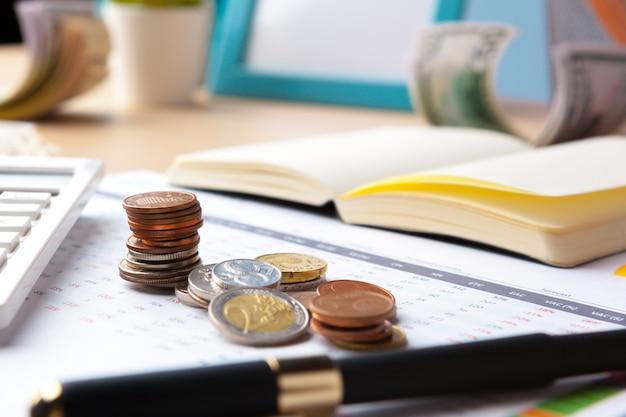 Financiële boekhouding beurs grafieken analyse close-up