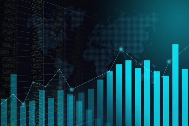 Financiële effectenbeursgrafiek op abstracte achtergrond