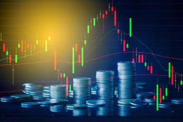 Financiële en zakelijke concept achtergrond en forex trading grafiek