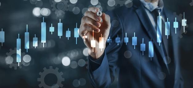 Financiële groeigrafiek investeringsconcept.