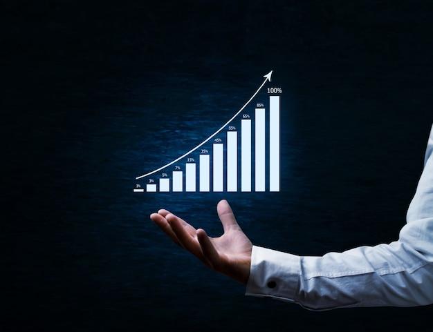 Financiële groeisymbool op donkerblauwe achtergrond