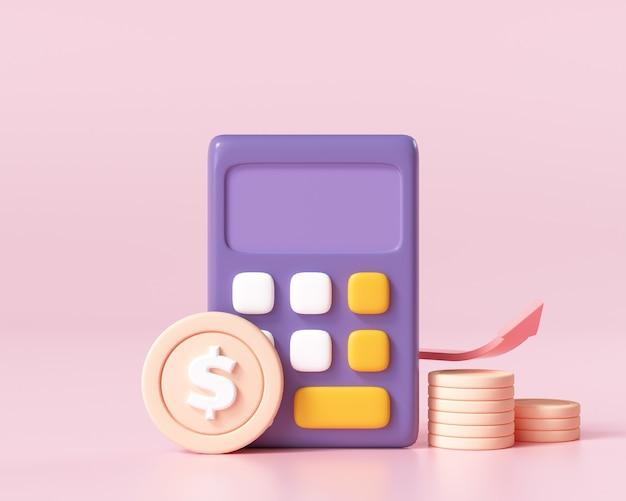 Financiële pictogram concept. geldbeheer, financiële planning, berekening van financieel risico, rekenmachine met muntenstapel en grafiek op roze achtergrond. 3d render illustratie