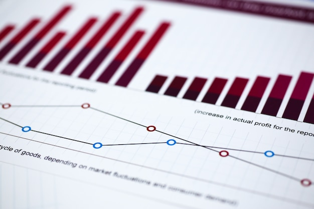 Financiële statistiekendocumenten op klembordstootkussen bij de close-up van de bureaulijst