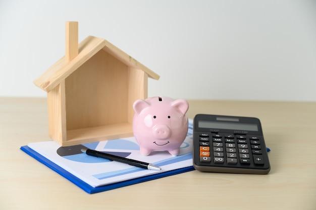 Financiën accounting rekenmachine spaarvarken en belastingen
