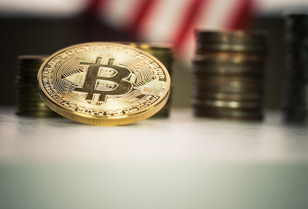 Financiën investeringsrisico en business internet concept: bitcoin digitale valuta
