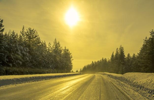 Fins lapland. winter bosweg en zon. niemand en geen auto's