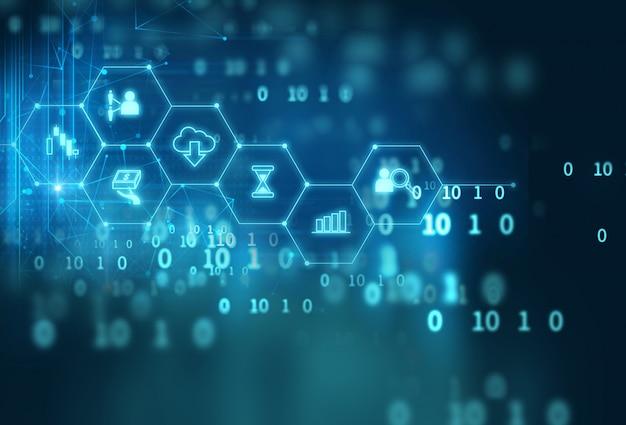 Fintech-pictogram op abstracte financiële technologieachtergrond.
