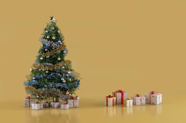 Fir kerstboom en kerstcadeautjes dozen 3d-afbeelding met kopie ruimte aan de rechterkant