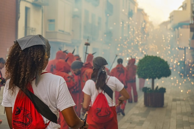 Fireworks noemde correfocs in catalonië, spanje
