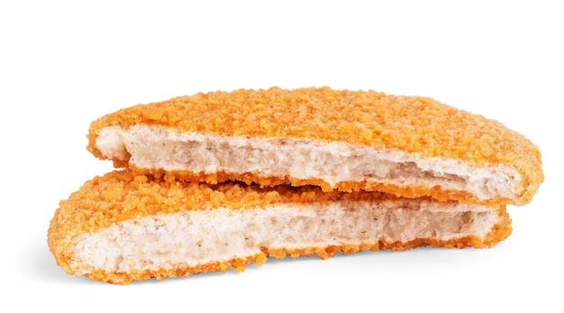 Fishcake hamburger geïsoleerd op een witte achtergrond.