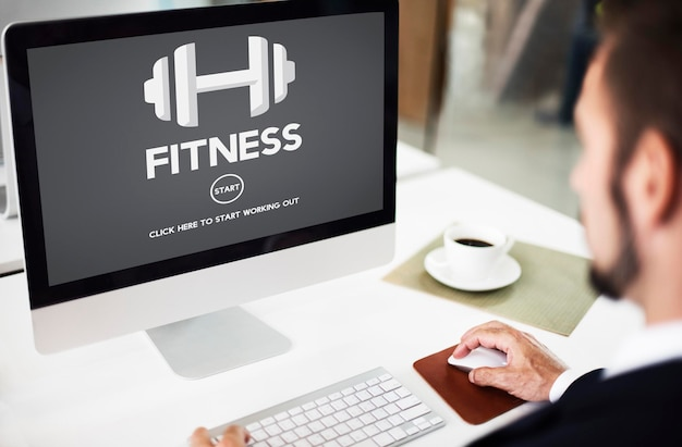 Fitness gezondheid fysieke krachttraining trainingsconcept