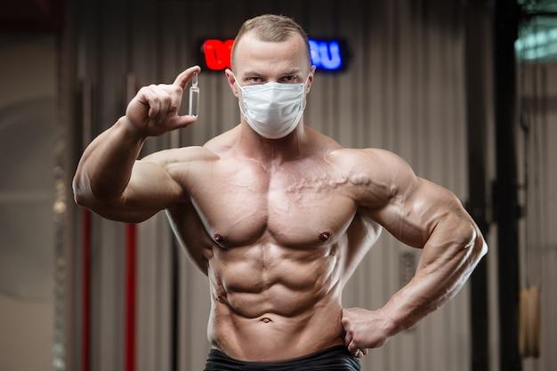 Fitness man met coronavirus ziekte covid-19
