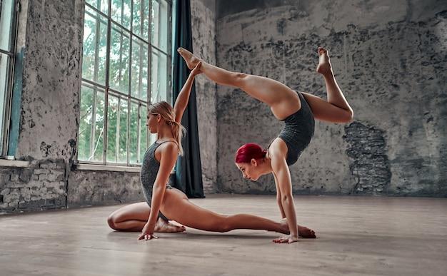 Fitness, stretching practice, groep van twee aantrekkelijke vrouwen die yoga doen. wellness-concept. partner yoga. evenwicht, concentratie, evenwichtsconcept.