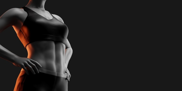 Fitness vrouw op zwarte achtergrond