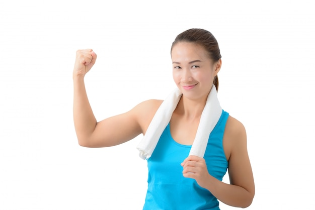 Fitness vrouwenportret op witte achtergrond wordt geïsoleerd die.