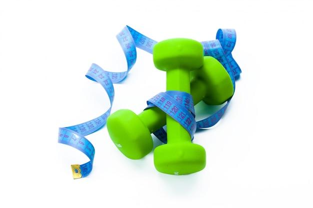 Fitnessapparatuur. gezond eten. dumbbells