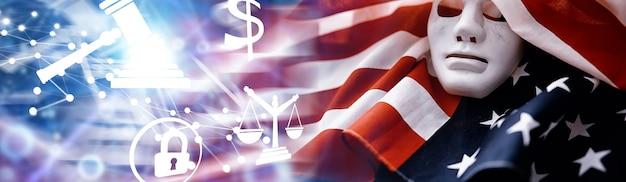 Fladderende vlag vs met golf. amerikaanse vlag voor memorial day of 4 juli. close-up van amerikaanse vlag op donkere achtergrond