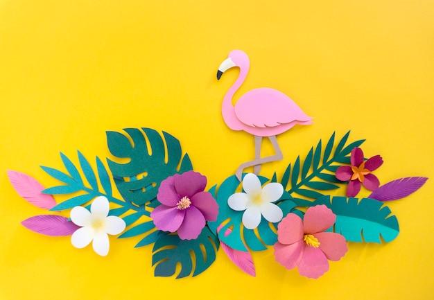 Flamingo nature papercraft verlaat planten