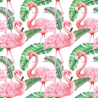 Flamingo's en bananenbladeren naadloze patroon