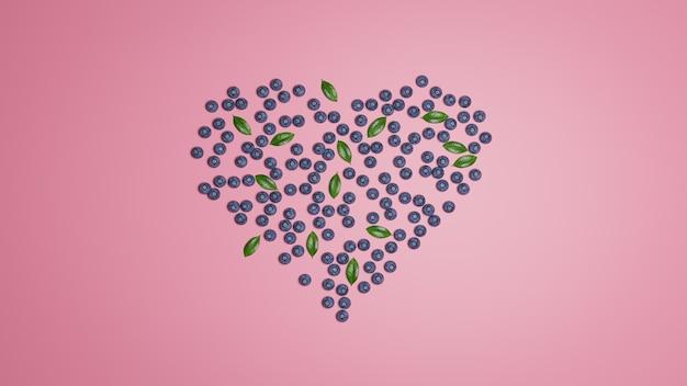 Flatlay heart blueberry op roze muur. behang. 3d-illustraties