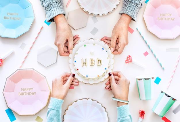 Flatlay van de partijconcept van de verjaardagsviering