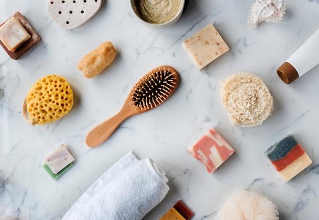 Flatlay van spa- en schoonheidsproducten
