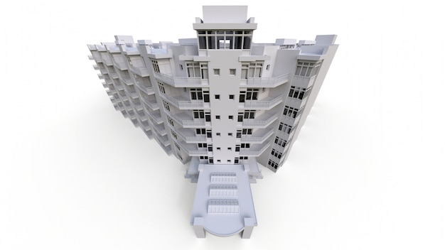 Flatmodel in witte kleur met transparante glazen. appartementenhuis met een binnenplaats. 3d-weergave