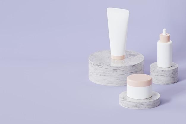 Fles, buis en pot voor cosmeticaproducten op marmeren podia op grijs oppervlak