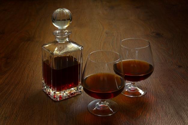 Fles en glas cognac