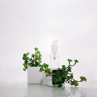 Fles lotion op potplant