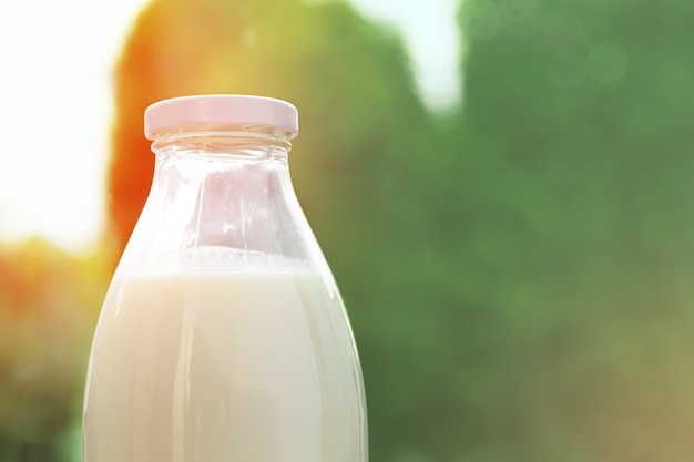 Fles melk tegen de achtergrond van groen gebladerte