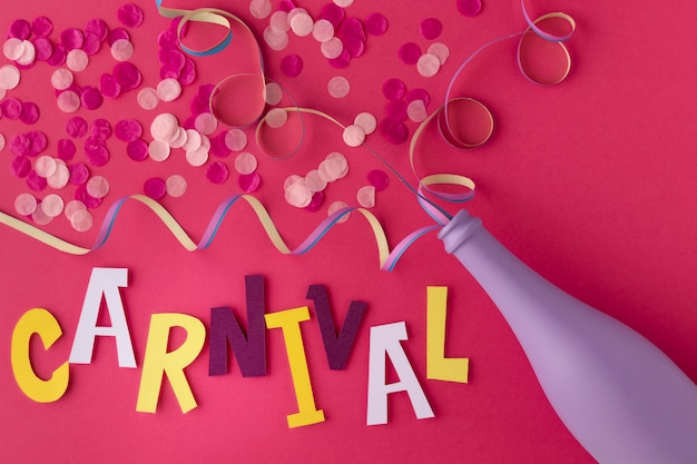 Fles met confetti voor carnaval