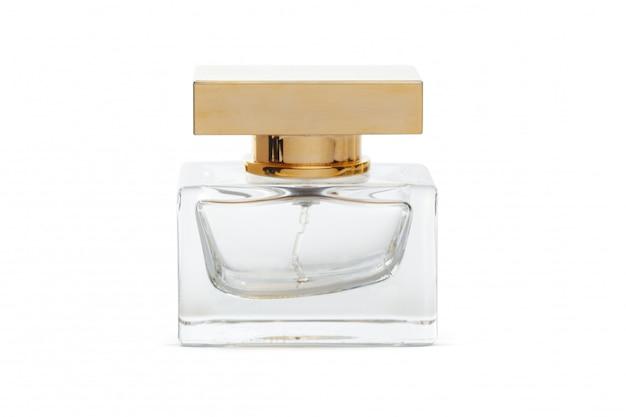 Fles parfum van witte oppervlakte wordt geïsoleerd die