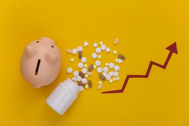 Fles pillen met pijl die omhoog neigt, spaarvarken op geel