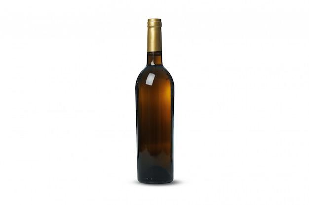 Fles wijn die op witte achtergrond wordt geïsoleerd