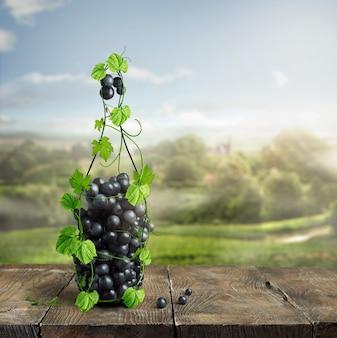 Fles wijn gemaakt van wijnstok en druiven