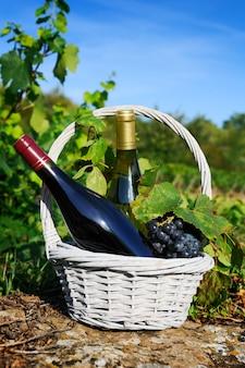 Flessen wijn en grappes in mand